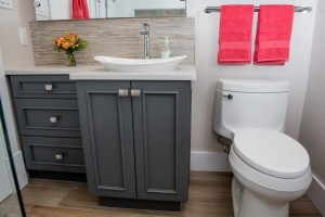 painted grey vanity cabinet